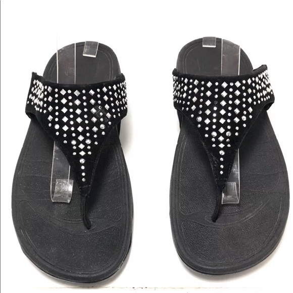 5925ae5ea6c15 Fitflop Shoes - FitFlop Black Leather CHA CHA Thong Sandals